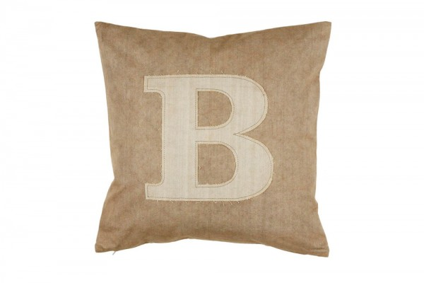 Decorative pillow Letter B in special sand