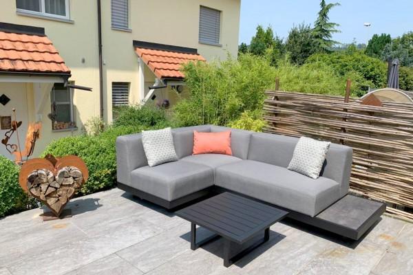 Sacramento garden lounge, left-hand version, in grey