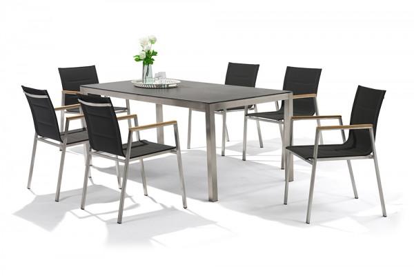 Jenna garden table set 180 - 6 chairs Lamaira in black