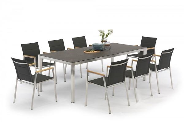 Table à manger Jenna 220 - 8 chaises Lameira en noir
