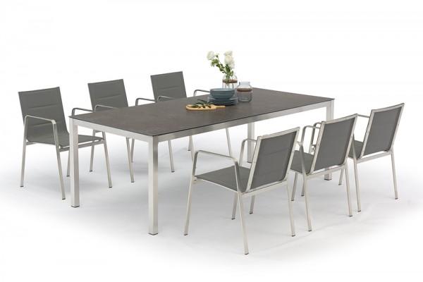 Ensemble de tables de jardin Jenna 220 – 6 chaises Lalena en gris